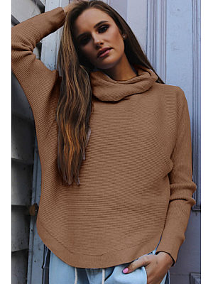 Cowl Neck  Curved Hem Sweaters