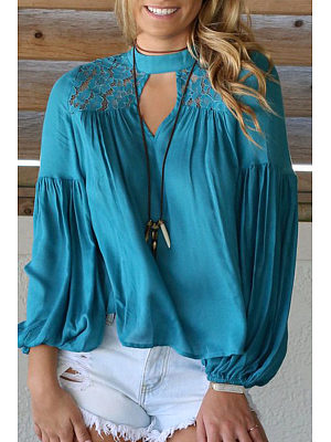 Cutout Patchwork  Back Hole  Plain Blouses
