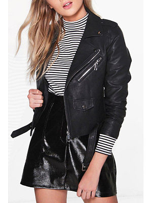 Fold Over Collar  Zipper  Belt  Patchwork Jackets