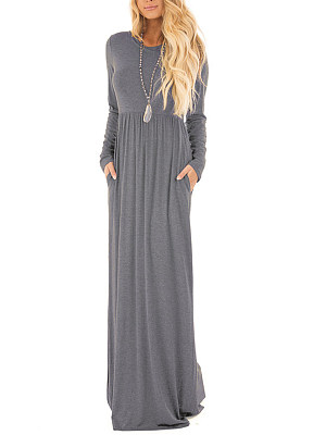 Round Neck Plain Pocket Empire Maxi Dress