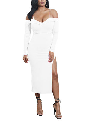 Open Shoulder Spaghetti Strap  High Slit  Plain Maxi Dresses