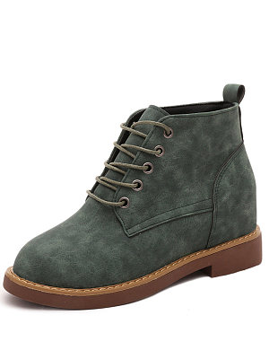 Plain  Low Heeled  Faux Leather  Casual Ankle Boot