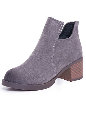 Plain  Chunky  Mid Heeled  Faux Suede  Round Toe  Date Boots