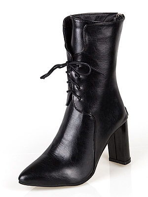 Plain  Chunky  High Heeled  Faux Leather  Criss Cross  Point Toe  Date Boots
