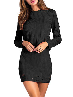 Round Neck  Cutout  Plain Two-Piece Outfits