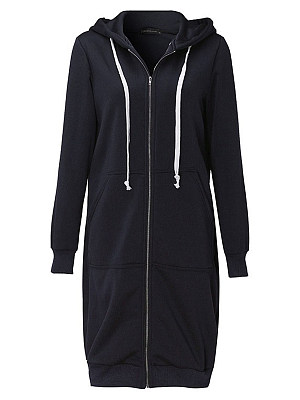 Hooded Drawstring Patch Pocket Plain Longline Coat
