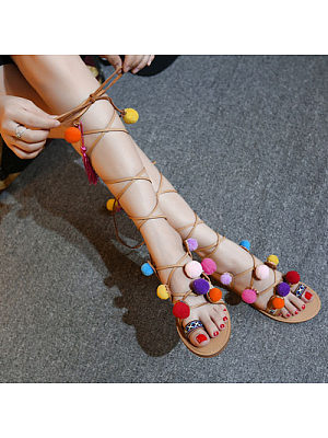 Tassel Lace Up Vintage Flat Sandals