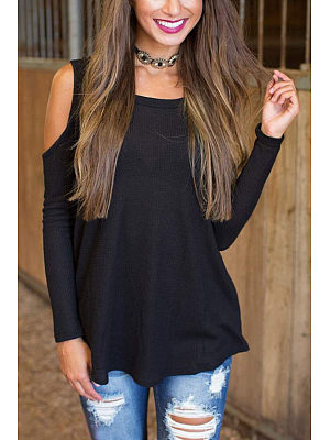 Open Shoulder Round Neck  Asymmetric Hem  Plain T-Shirts