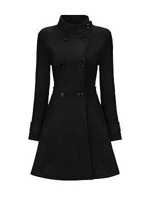 Band Collar  Double Breasted  Plain Woolen Coats