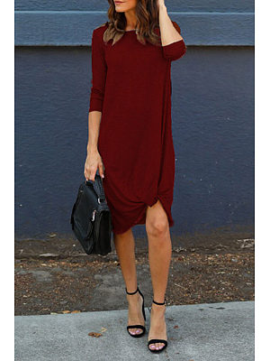 Round Neck  Ruffled Hem  Plain Casual Dresses