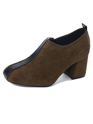 Plain  Chunky  Mid Heeled  Faux Suede  Date Pumps