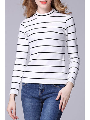 High Neck  Striped T-Shirts