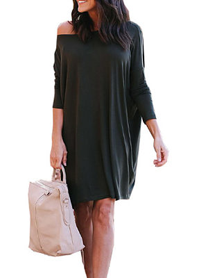 One Shoulder  Asymmetric Hem  Plain  Batwing Sleeve Casual Dresses