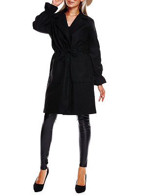 Lapel  Drawstring Slit Pocket  Plain Outerwear
