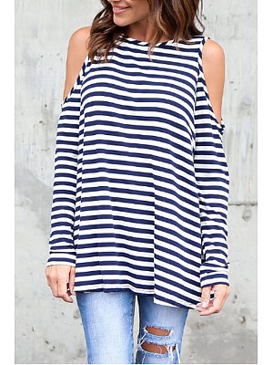 Open Shoulder  Striped T-Shirts