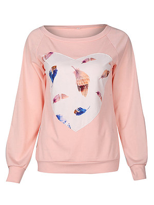 Feather Heart Printed Raglan Sleeve T-Shirt