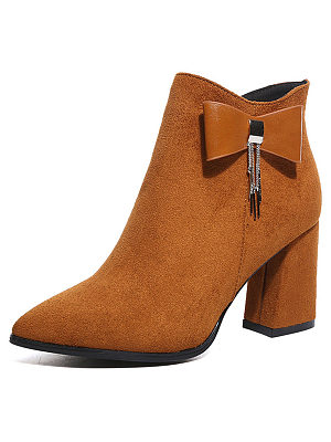 Plain  Chunky  High Heeled  Faux Suede  Point Toe  Date Boots