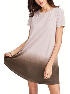 Round Neck  Gradient  Short Sleeve Casual Dresses