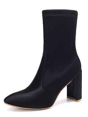 Plain  Chunky  High Heeled  Satin  Point Toe  Date Boots