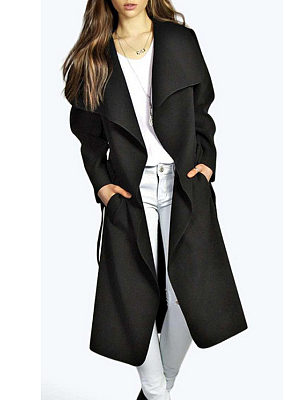 Lapel  Snap Front  Belt  Plain Outerwear