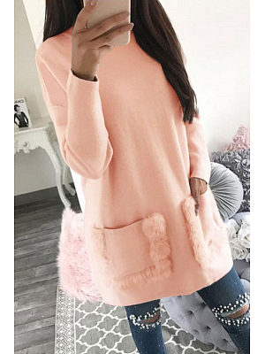 Round Neck  Slit Pocket  Patchwork Plain Sweatshirts