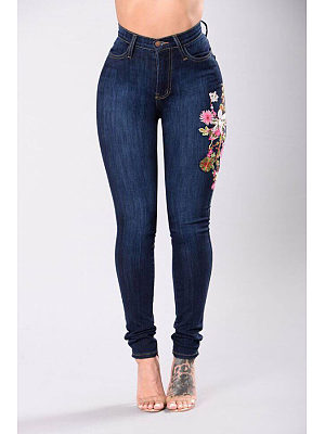 Single Button  Embroidery Jeans