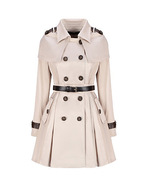Turn Down Collar  Double Breasted Storm Flap Trench Coat