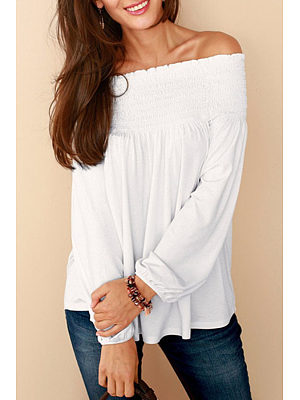 Off Shoulder  Smocked Bodice  Plain Blouses