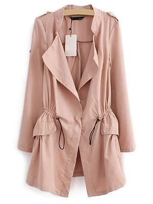 5 Color Lapel With Drawstring And Pockets Plain Trench-Coats