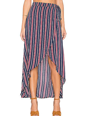 Asymmetric Hem  Vertical Striped Maxi Skirts