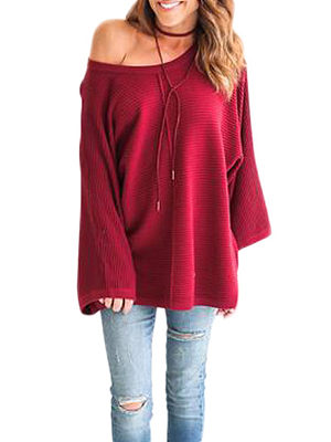 Scoop Neck  Plain Sweaters