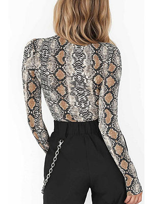 High Neck  Animal Printed  Long Sleeve Bodysuits