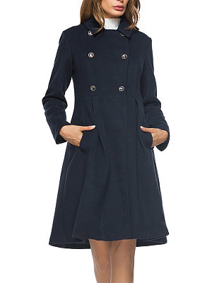 Lapel Double Breasted Longline Plain Pocket Woolen Coat