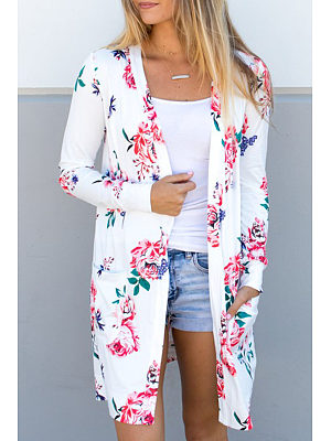 Snap Front  Floral Printed Cardigans