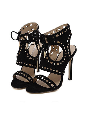 Rivet  Hollow Out Peep Toe High Heeled Sandals