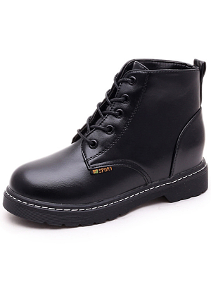 Plain  Flat  Faux Leather  Criss Cross  Casual Boots