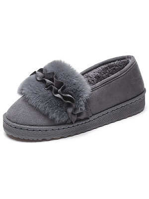 Plain  Flat  Faux Suede  Round Toe  Casual Flat