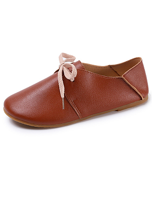 Plain  Flat  Faux Leather  Criss Cross  Casual Flat & Loafers