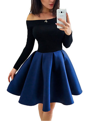 Open Shoulder  Patchwork Skater Dresses