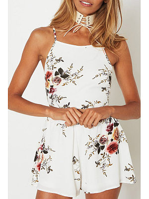 Spaghetti Strap  Bowknot Elastic Waist  Floral Printed Two-Piece Outfits