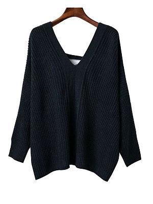 V Neck  Cross Straps  Plain  Batwing Sleeve Sweaters