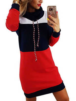 High Neck  Color Block  Long Sleeve Bodycon Dresses