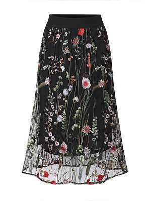 Elastic Waist  Embroidery Maxi Skirts