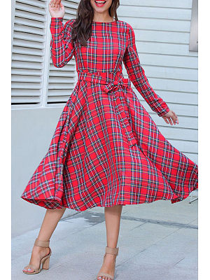 Round Neck  Bow  Belt  Plaid Maxi Dresses
