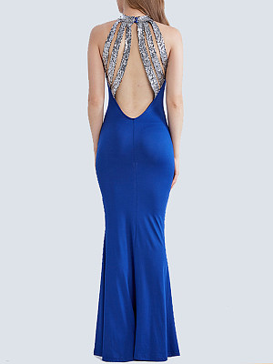 Band Collar Sequin Back Hole Mermaid Evening Dress