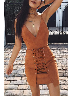 Spaghetti Strap  Drawstring  Sleeveless Bodycon Dresses