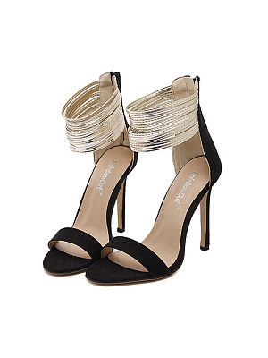 Patchwork Ankle Strap High Heeled Sandals