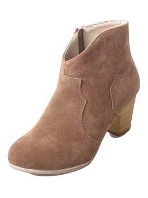 Plain  Chunky  Mid Heeled  Faux Leather  Basic Boots