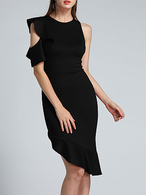 Round Neck Plain Asymmetric Hem Flounce Bodycon Dress