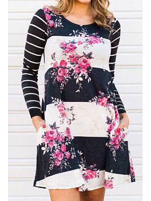 Round Neck  Color Block Floral Printed Striped Casual Dresses
